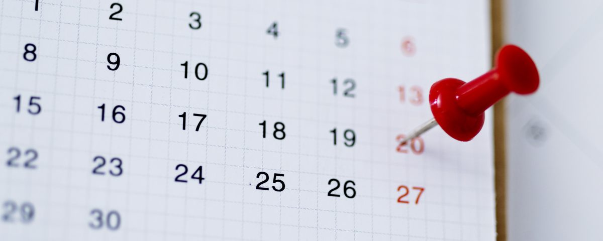 Close-up of single red push pin in calendar.